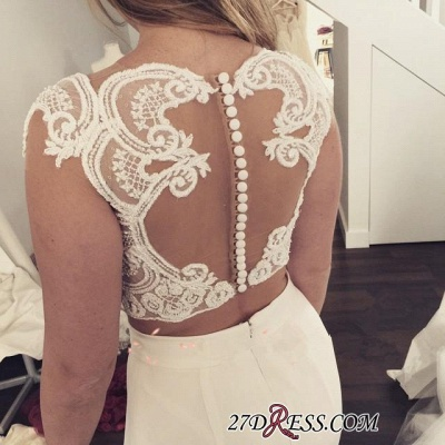 Two-Piece Zipper Lace Mermaid Sweep-Train Modest White Wedding Dress_2