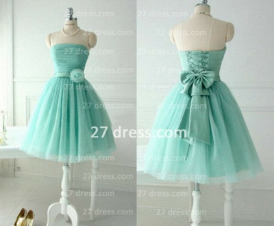 Lace-up Sleeveless Prom Dresses Gowns Bow Flower Knee-length Ruffles Strapless Wedingparty_1