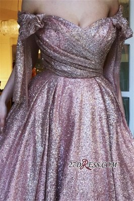 Off-The-Shoulder Sequins Evening Dress | Glamorous Sleeveless A-Line Prom Gown_3