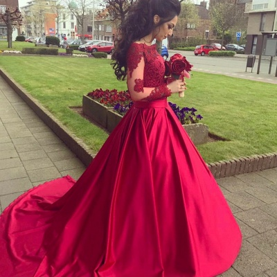 Glamorous Long Sleeve Off-the-Shoulder Lace 2020 Evening Dress On Sale BA9082_3