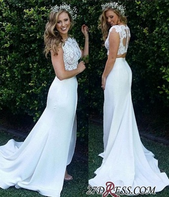 Two-Piece Zipper Lace Mermaid Sweep-Train Modest White Wedding Dress_4