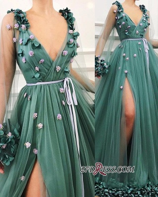 Green Long-Sleeves A-Line Prom Gown | Gorgeous Side-Slit V-Neck Tulle Long Prom Dress_1