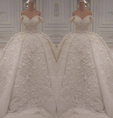 Charming Off-The-Shoulder Ball Gown Wedding Dress | 2020 Lace Appliques Bridal Gown On Sale BC1308_2