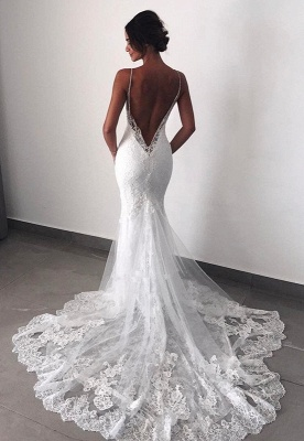 Charming Backless Lace Wedding Dress | 2020 Mermaid Bridal Gowns BC0129_1