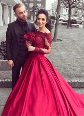 Glamorous Long Sleeve Off-the-Shoulder Lace 2020 Evening Dress On Sale BA9082_1