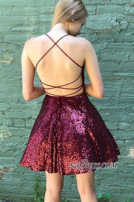 Sequin Short A-line Spaghetti-straps Cocktail Dresses_2