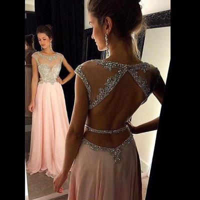 Gorgeous Scoop Long Chiffon Prom Dress 2020 Crystals Open Back AP0_3
