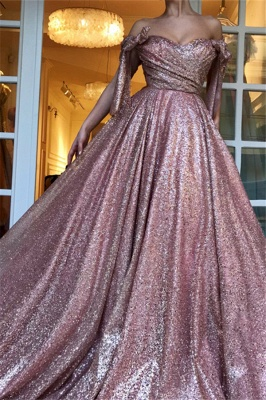 Off-The-Shoulder Sequins Evening Dress | Glamorous Sleeveless A-Line Prom Gown_5