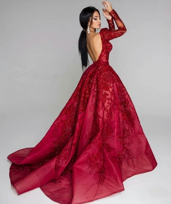 Glamorous Long Sleeve Lace Prom Dress | 2020 Split Puffy Open-Back Evening Gowns BC0652_2