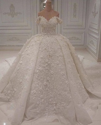 Charming Off-The-Shoulder Ball Gown Wedding Dress | 2020 Lace Appliques Bridal Gown On Sale BC1308_1
