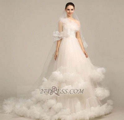 One Shoulder Sweetheart Tulle Wedding Dress Floor Length With Ruffles Princess Bridal Gowns_5