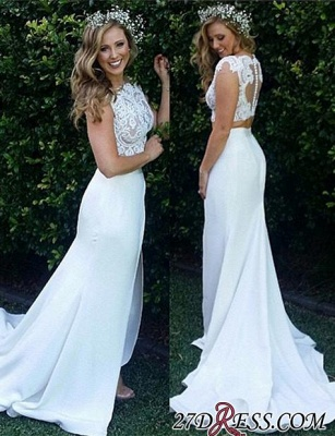 Two-Piece Zipper Lace Mermaid Sweep-Train Modest White Wedding Dress_1