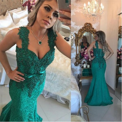 Glamorous Green Lace Mermaid 2020 Evening Dress Long With Beadings BMT_3