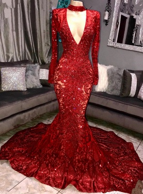 Sexy Long Sleeve 2020 Prom Dresses   Sequins Mermaid Evening Gowns On Sale BC0842_1