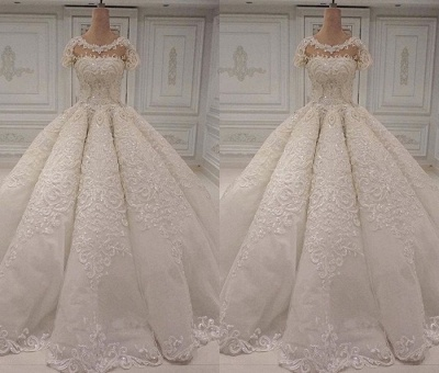 New Arrival Crew Short Sleeves Wedding Gown | 2020 Lace Appliques Bridal Dress On Sale_2