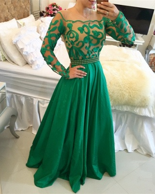 Beautiful Green Long Sleeve Prom Dress 2020 A-Line With Pearls BT0_1
