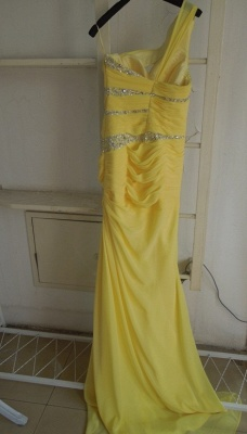 New Elegant Yellow Evening Dresses One Shoulder Long Beading Chiffon Prom gowns_2