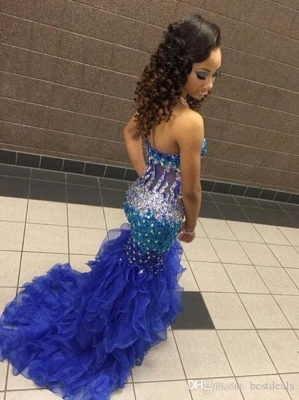 Modern Strapless Royal Blue 2020 Prom Dresses Crystal Organza Mermaid Party Gowns BK0_3