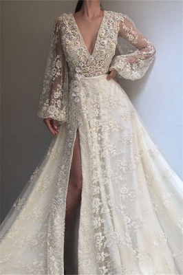 Long-Sleeves Lace Applique Prom Dresses | Sexy Side-Slit V-Neck A-line Prom Gown_3