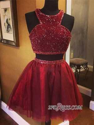 Sleeveless Red Luxury Two-Piece A-line Bead Homecoming Dresses_5
