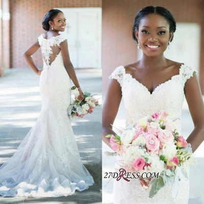 Sheath Elegant Tulle Lace Sexy V-neck Sleeveless Long-Train Wedding Dress_1