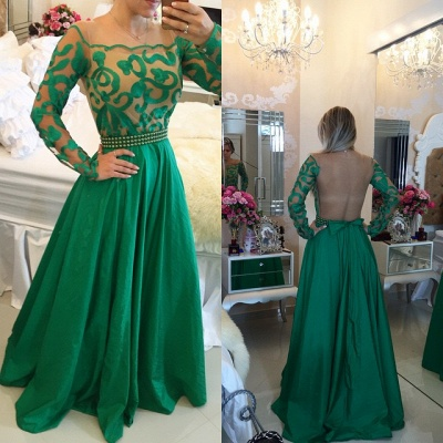 Beautiful Green Long Sleeve Prom Dress 2020 A-Line With Pearls BT0_3