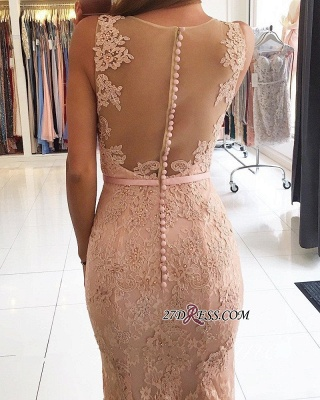 Mermaid Long Lace Sexy Pink Evening Dresses BH354_1