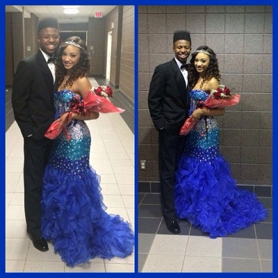 Modern Strapless Royal Blue 2020 Prom Dresses Crystal Organza Mermaid Party Gowns BK0_4
