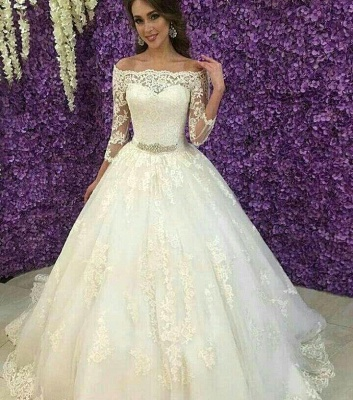Princess Off-the-Shoulder Long Sleeve Wedding Dress 2020 Lace Tulle_3