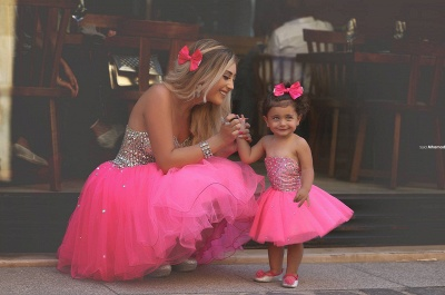 Glamorous Sequins Tulle Short Mother And Daughter Dress 2020 Sweetheart BA3116_5