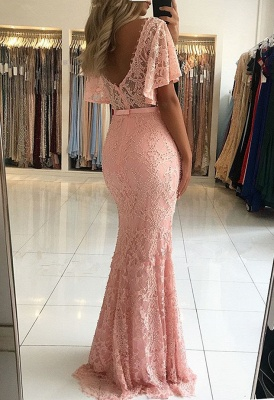 Elegant Pink Mermaid Evening Dresses | 2020 Beaidngs Lace Prom Gowns_3