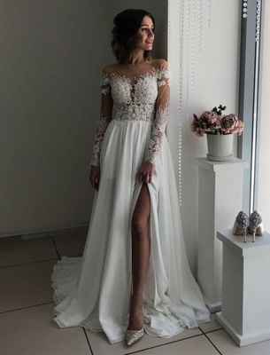 Glamorous Long Sleeve Lace Wedding Dresses | 2020 Chiffon Bridal Gowns With Slit BC0012_2