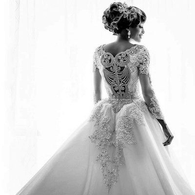 Gorgeous Long Sleeve Crystal 2020 Wedding Dresses | Mermaid Overskirt Lace Bridal Gowns BC0543_3