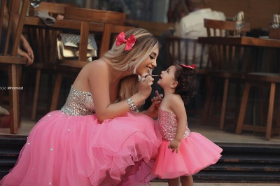 Glamorous Sequins Tulle Short Mother And Daughter Dress 2020 Sweetheart BA3116_3