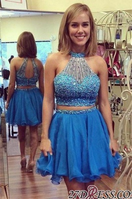 Mini Two-Piece Gorgeous Crystals Halter A-line Homecoming Dress_2