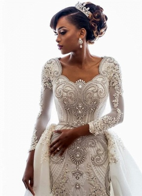 Gorgeous Long Sleeve Crystal 2020 Wedding Dresses | Mermaid Overskirt Lace Bridal Gowns BC0543_1