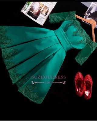 2020 Lace Green Short Appliques Charming Half-Sleeve Homecoming Dress BA3856_1