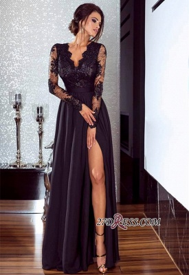 Lace Long Prom Dress | 2020 Long Sleeve Evening Gowns With Split BA7525_3