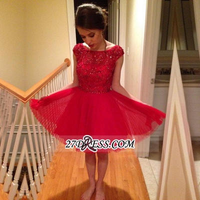 Short Crystal Red A-Line Cap-Sleeves Homecoming Dress BA3582_3
