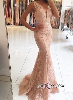 Mermaid Long Lace Sexy Pink Evening Dresses BH354_4