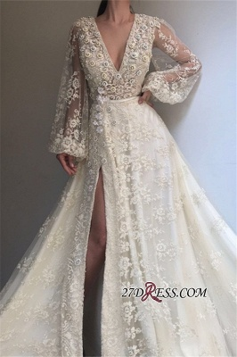 Long-Sleeves Lace Applique Prom Dresses | Sexy Side-Slit V-Neck A-line Prom Gown_2