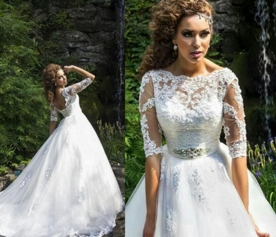Delicate Lace Appliques Half Sleeve Wedding Dress 2020 Crystal Lace-up Sweep Train_4