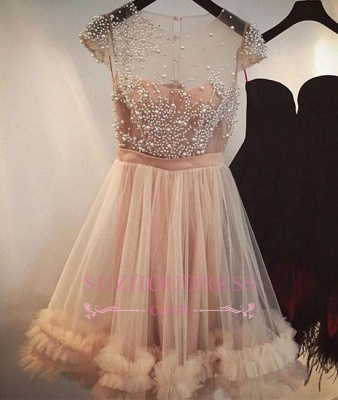 Tulle A-line Beading Capped-Sleeves Sheer Champagne Homecoming Dresses_1