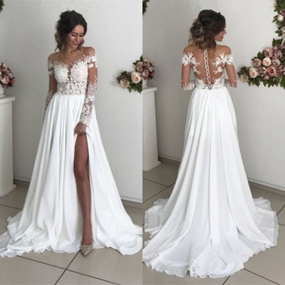 Glamorous Long Sleeve Lace Wedding Dresses | 2020 Chiffon Bridal Gowns With Slit BC0012_4