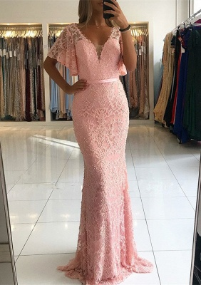 Elegant Pink Mermaid Evening Dresses | 2020 Beaidngs Lace Prom Gowns_1