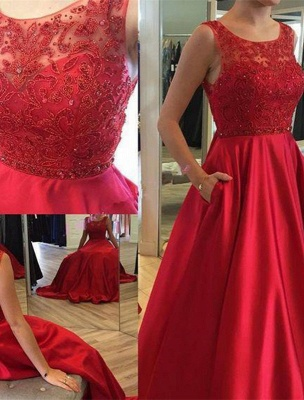 Open-Back A-Line Ruby Elegant Sleeveless Applique Long Prom Dresses_2