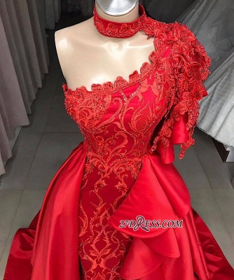 High Mermaid Neck Overskirts One-Shoulder Gorgeous Prom Gowns_1