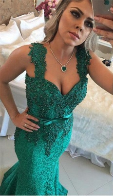 Glamorous Green Lace Mermaid 2020 Evening Dress Long With Beadings BMT_1