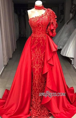 High Mermaid Neck Overskirts One-Shoulder Gorgeous Prom Gowns_2