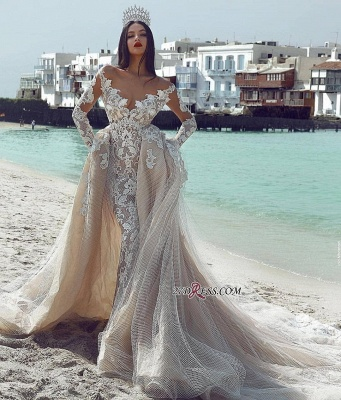 Charming V-Neck Long-Sleeves Bridal Gowns | 2020 A-Line Tulle Detachable Appliques Wedding Dresses_2